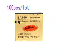 al por mayor xperia mk16i-100pcs / lot 2430mAh Oro batería del reemplazo para Sony Ericsson Xperia Pro MK16i MT15i neo V MT11i Ray ST18i Lt16i BA700 Baterías