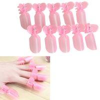 Wholesale 10Pcs Pink Plastic Salon Nail Art DIY Nanicure Design Tips Varnish Cover Polish Shield Protector Clip Set TOP27