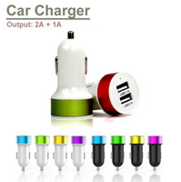 Wholesale Top Quality Dual USB ports Car Charger V A A colorful Power Adapter for iPhone Plus s s Samsung S3 S4 S5 S6 Note Note DHL Free