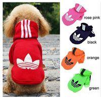 Wholesale DHL New Fashion Stripe Design Pet Hoodie Dog Clothes Puppy Cat Apparel Colors Pet Products COTTON XS S M L XL
