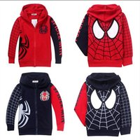 Wholesale 2015 Hot Baby Boy Spider Man Hoodies Kids Zipper Jacket Sweater Children Autumn Long Sleeve Coat Hooded Children Top Clothes