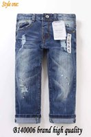 jeans pants - Ripped kids jeans Spring Autumn Kids Long Jeans Children Overall Jean pants Boy Brand High quality Destroyed Wash jeans