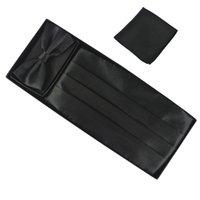 Wholesale Tie Set Men Tie Set Solid Black Color High Quality Hand Towel Tie Waist Sealing With Box Tie Set For Men Tie