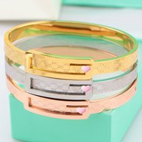 Wholesale 2016 Europe classic monogram letter diamond bracelets luxury Titanium K gold G charm bangle band cuff unisex statement jewelry