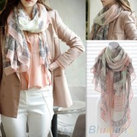 fashion scarves - Voile Soft Long Scarf Women Eiffel Tower Printed Wrap Shawl Stole Scarves T1O