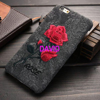 arts handmade leather - iPhone6 Plus S Plus Handmade Embroidery Rose Flower Back Cover PU Leather Art Print Fashion Case For iPhone S Plus