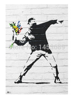 banksy wallpaper - Flower Bomber Banksy Wall Paper Home Decor Movie Poster Customized Fashion Classic x75cm Wall Sticker KO