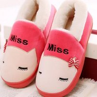 Wholesale Winter indoor men and women lovers cotton slippers female turnkey with warm household platform confined maomao shoes slippers in winter