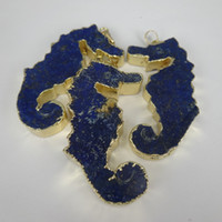 Wholesale High Quality Freeshipping Natural Blue Druzy Ocean Jasper Stone Seahorse Hippocampus Jewelry Drusy Pendant Silver Plated Edged Quartz