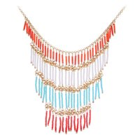 bead jewelry magazine - 2015 New Bohemian Design Fantastic Elegant Colorful Beads Long Tassel Bib Collar Necklace Fashion Magazine Model Jewelry