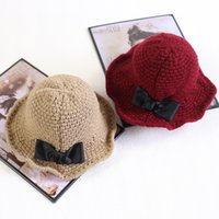 Wholesale 2016 Winter Christmas Women Big Girls Hats Kids Beanies Bowknot Accessories Crochet Caps Base Large Brimmed Cap Hats Girl Bucket Hat