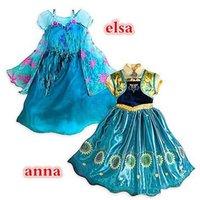 Cheap Frozen fever children summer anna elsa dress Cinderella 2015 elsa anna movie cosplay costumes baby girl flower princess dress DHL free A001