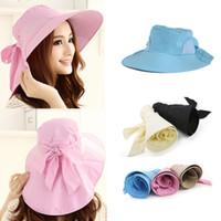 Wholesale Top Quality Brand Fashion Women Anti UV Sun Hat Foldable Wide Brim sunhat Self tie Bow Summer Beach Floppy chapeu Cap Headwear