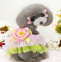 Wholesale Sunflowr Pet Party Dresses Lace Tutu Tulle Veil Dress Pets Dog Puppy Princess Dogs Apparel Cat Dressy Summer Teddy Clothes J4838