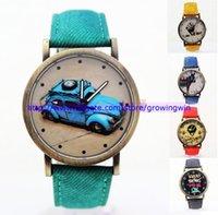 Cheap 55pcs lot Fashion Leather watch women men unisex cartoon car bike different partten vintage sport dress quartz watches