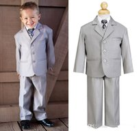 kids tuxedo - 2014 New Boy s Kids Formal Occasion Little Men Light Grey Three Buttons Suits Notch Lapel Wedding Party Tuxedos Custom Made LX