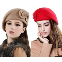 Wholesale Women Elegant Flower Bow Stylish Bucket Slouch Simple Bow Wool Beret Wool Hat Various Design and Color Ladies Celeb Style Hat