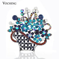 anniversary gifts baskets - Flower Basket Safety Pin Brooch Fashion Jewelry Gift For Women White Plated Crystal Brooch Vx Vocheng Jewelry