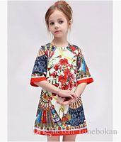 achat en gros de robes ethniques filles-Enfants de détail 2016 nouveaux A Fashion Line ethnique Princesse Fleur Bébés filles en mousseline de soie manches mi-longues robes plissées en gros Vêtements Enfants 2-6T