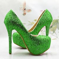 ballet slipper heels - 2016 fashion spring summer wedding shoes green glass slipper round toe stiletto heel big size pumps fashion shoes