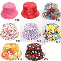 Wholesale Snapback Hats Cute Cartoon Flower Printed Kids Girl Caps Lovely Sun Hat Colorful Baby Bucket Hats Canvas Children Beanie Design Available
