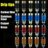 kit stainless steel fiber - Best metal Drip Tips Carbon fiber stainless steel brass copper Puffs Tip Colorful Mod RDA ego Atomizer e cig cigarette RBA Mouthpiece