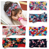 Wholesale 2016 brand new colors Baby Kids Girl Print Flower Bow Hairband Turban Knot Rabbit Headband Headwear NEW Hair Accessories