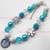 beaded snowflake - New Style Silver Snowflake Frozen inspired girls chunky necklace Frozen Elsa Necklace statement necklaces CB501