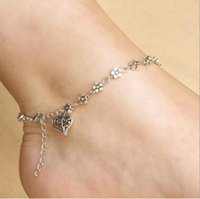Wholesale New Hollow Flower Silver Designer Anklets Foot Ladies Bridal Luxury Barefoot Sandals Ankle Bracelet Chain Jewelry Sandbeach Wedding Gift