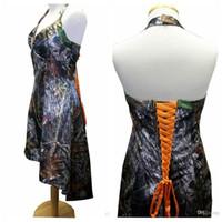Wholesale Halter A Line High Low Camo Bridesmaids Dresses Short Beaded Organge Lace Up Back Top Sale Bridesmaid Dress