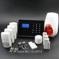 fire alarm - Freeship lcd touch pstn gsm alarm system for home security with sms android app control outdoor flash siren for home security