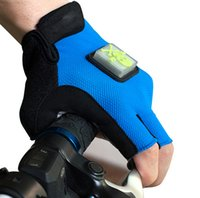 Wholesale flashlight Bicycle Gloves Half Finger LED Motocross Riding Dirt Bike BMX Cycling Biking Gloves With LED Light Indictor