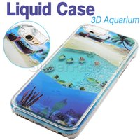 aquarium covers - For Iphone Case New Aquarium Liquid Dynamic Hybrid Fish Case Colorful Sea Fish Back Cover Plastic Case Retail Package