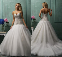 silver wedding dresses - 2015 Elegant Ball Gown Wedding Dresses For Bride Silver Crystals Sweetheart Beading Zipper Tulle Court Train Bridal Gowns Custom Made CGL01