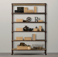 american wood flooring - American rural retro iron bookcase shelves shelving storage rack floor wall to do the old wood frame