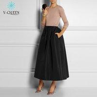 Cheap 100CM 2015 Fashion Women Skirts Spring Summer Muslim Long Skirts Female High Waist Pleated Maxi Skirts Womens With Pockets 70080