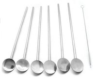 Wholesale Bar hotel supplies multifunctional stainless steel spoon drinking fruit straw stirring rod