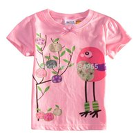 Cheap Girls tee shirts 2015 new arrival kids clothes cartoon bird design cute children short sleeve tops kids clothes summer shirts age 2-6.
