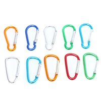Cheap Free Shipping Aluminum Carabiner Assorted 100pcs lot Carabiner Durable Climbing Hook Aluminum Camping Accessory Fit Outdoorsport