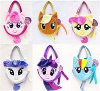 Wholesale 2015 Children kids My Little Pony Plush Handbags Baby Colorful Cute Horse Bags Shopping Bags Kids Cartoon Bags Wallets