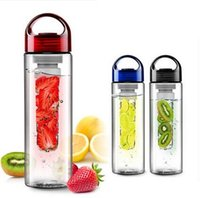 Wholesale 2015 New ML Black cap Fruit Infusing Infuser Water Bottle Sports Health Lemon Juice Infusion BPA Free Detox Drink Make Bottle