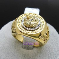 Wholesale 2 colors Italina Rigant Brand Yellow gold plated Lion s head men jewelry finger Ring for men and women Full Sizes