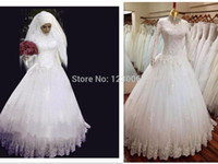 Cheap Top Quality High Neck Arabic Hijab Muslim Wedding Dresses with Long Sleeves 2015 New Arrival Appliques Lace White Bridal Gown