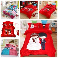 Wholesale Red Wedding Bedding Sets For Bridal Cotton Cartoon Queen King Size Bedclothes Duvet Cover Sheet Bed Spreads Wedding Favors