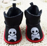 balance tape - High waisted black velvet skull balanced warm boots Christmas New Year cartoon baby soft bottom adhesive tape snow boots pair CL