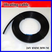 Al por mayor-anticongelante Escarcha Protección Calefacción Cable para pipa de agua / Azotea 24V 8MM 30W / M 65Temp Auto Regulación Calentador eléctrico de alambre de cobre