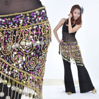 Wholesale 150pcs Golden Coins Luxury Charming Belly Dance Costume Crocheted Hip Scarf Belt Sequins colors