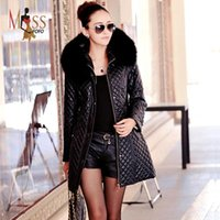 ladies quilted winter coat - 2015 autumn winter fashion luxurious women s hooded faux collar PU leather coat quilted cotton parkas good quality for lady