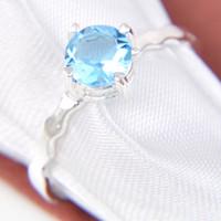 Wholesale 6 Luckyshine Valentine Gift Amazing Round Sky Blue Topaz Gemstone Sterling Silver Plated Weddiing Rings