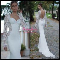 Cheap 2015 Ivory Lace Illusion Long Sleeve Open Back Mermaid Berta Winter 2014 Wedding Dresses Sweetheart Court Train Satin Wedding Bridal Gowns12